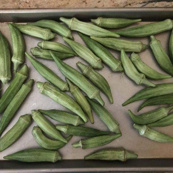 pan of roasted okra