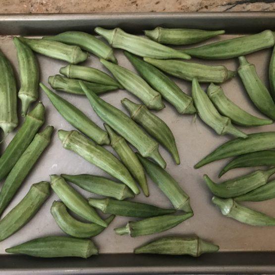 pan of roasted okra