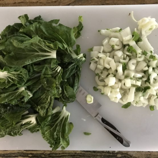 Chopped choy and stems