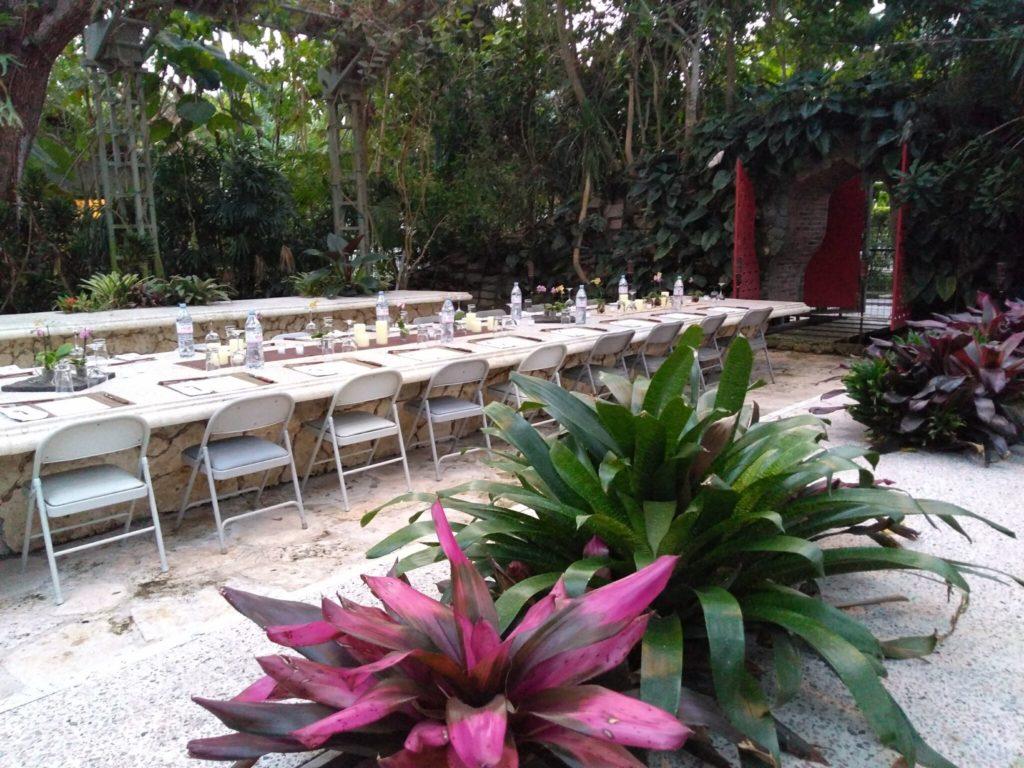Garden table set for dinner