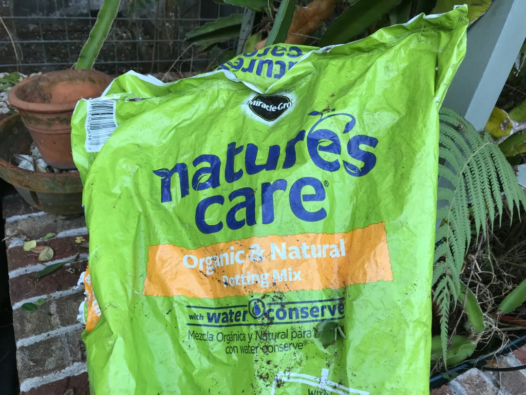 Bag of organic potting mix